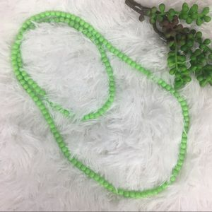 New Faux Pearl Single Strand Long Green Necklace